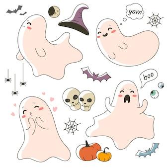 Pequeño y lindo personaje fantasma para la celebración de halloween
