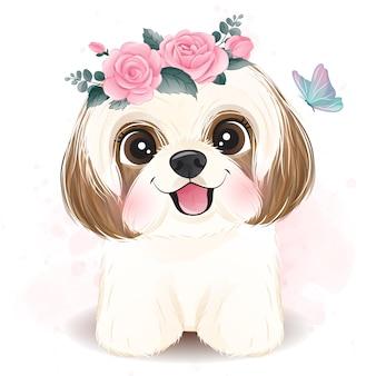 Pequeño y lindo shih tzu con ilustración floral