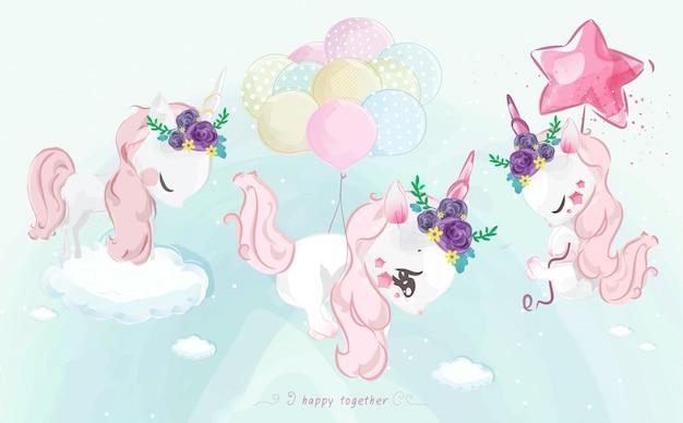 Un pequeño y lindo unicornio en colorido estilo acuarela set.