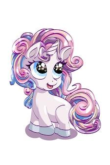Un pequeño y lindo unicornio rosa de ojos azules con su cabello colorido, diseño de ilustración de dibujos animados de animales