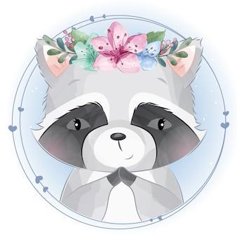 Pequeño mapache lindo con retrato floral