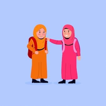 El pequeño niño árabe está calmando a su amiga