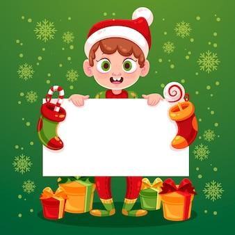 Pequeño niño elfo sosteniendo una pancarta vacía