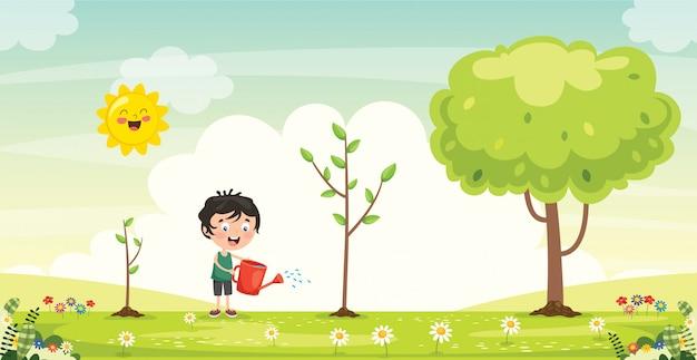 Pequeño niño jardinería y plantación