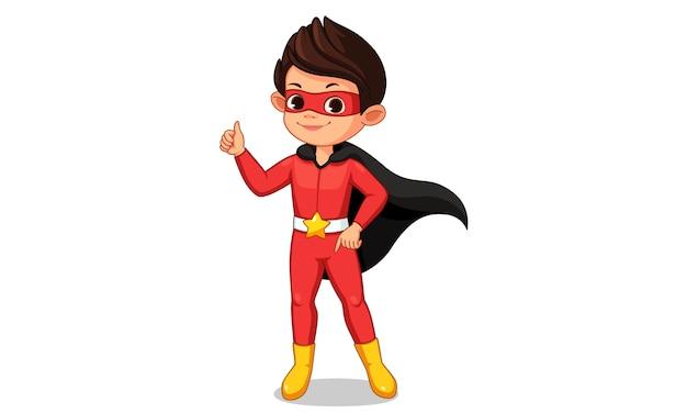 Pequeño niño superhéroe que muestra la ilustración del pulgar