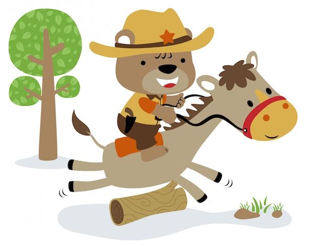 Pequeño oso de dibujos animados del divertido sheriff en caballo
