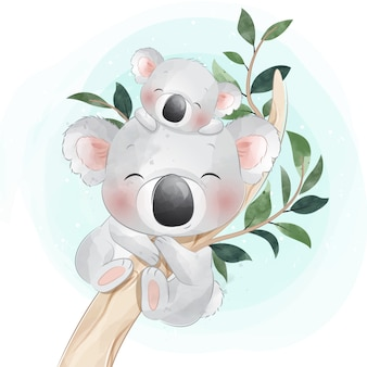 Pequeño oso koala lindo madre y bebé