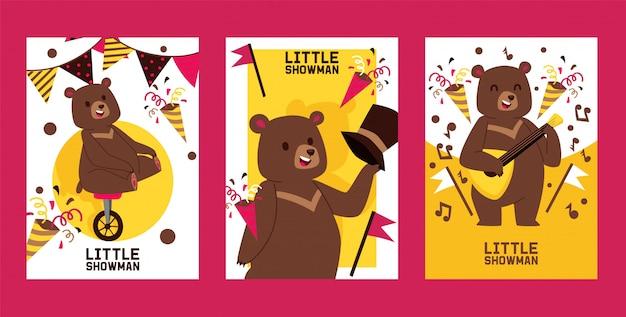 Pequeño oso showman conjunto de pancartas, ilustración de carteles. actuación de circo.