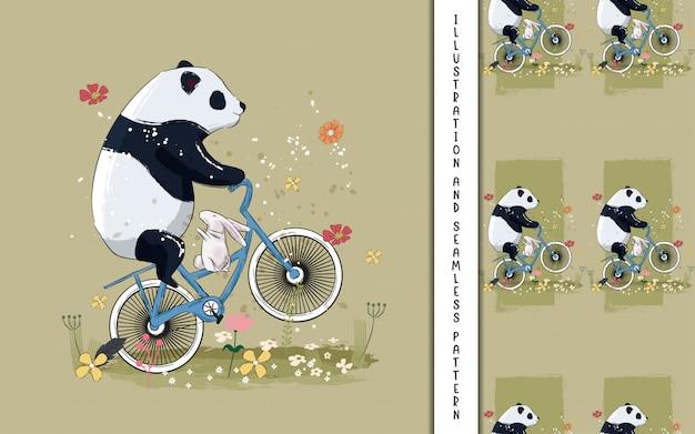 Pequeño panda y conejito en una bicicleta con flores