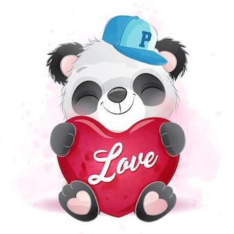 Pequeño panda lindo abrazando un corazón