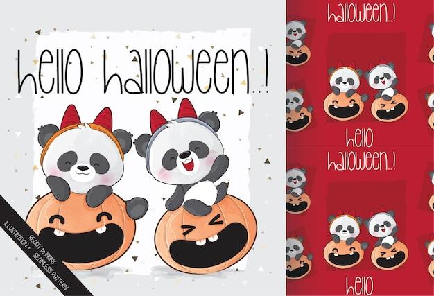 Pequeño panda lindo con calabaza feliz halloween con patrones sin fisuras