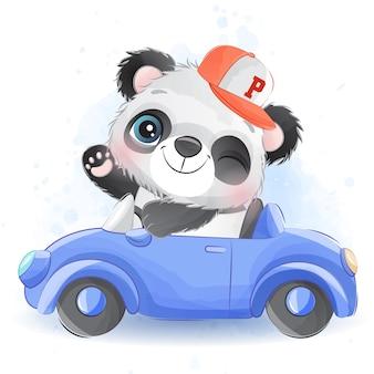 Pequeño panda lindo conduciendo un automóvil