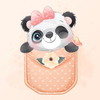 Pequeño panda lindo sentado dentro de la ilustración de bolsillo