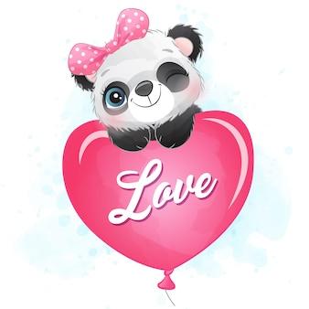 Pequeño panda lindo volando con globo de amor