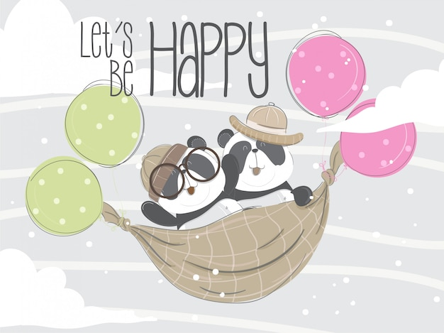 Pequeño panda volando dibujado a mano ilustración-vector