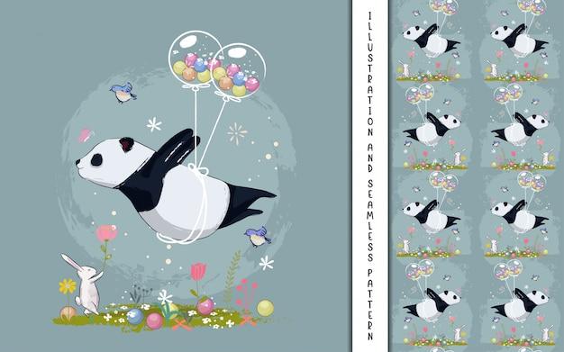 Pequeño panda volando con globos ilustración para niños