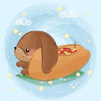 Pequeño perrito caliente lindo del perro basset