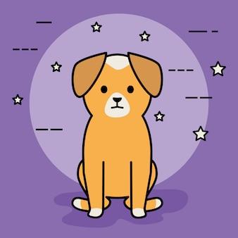 Pequeño perro adorable personaje de mascota
