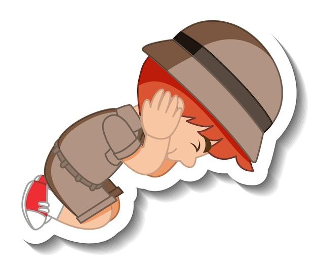 Pequeño personaje de dibujos animados de boy scout pegatina
