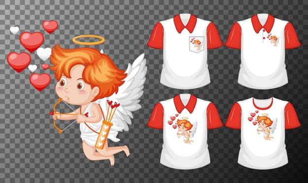 Pequeño personaje de dibujos animados de cupidos con un conjunto de camisas diferentes aislado sobre fondo transparente