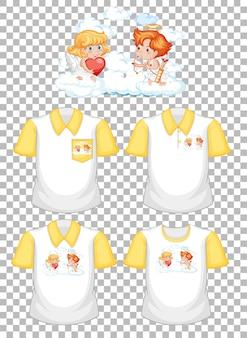 Pequeño personaje de dibujos animados de cupidos con un conjunto de camisas diferentes aislado