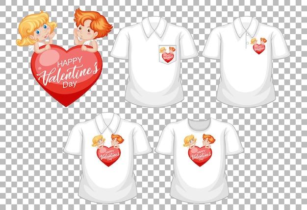 Pequeño personaje de dibujos animados de cupidos con un conjunto de camisetas diferentes aislado sobre fondo blanco.
