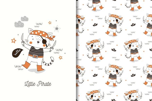 Pequeño personaje de dibujos animados de pirata gato. tarjeta y patrón sin costuras para niños.