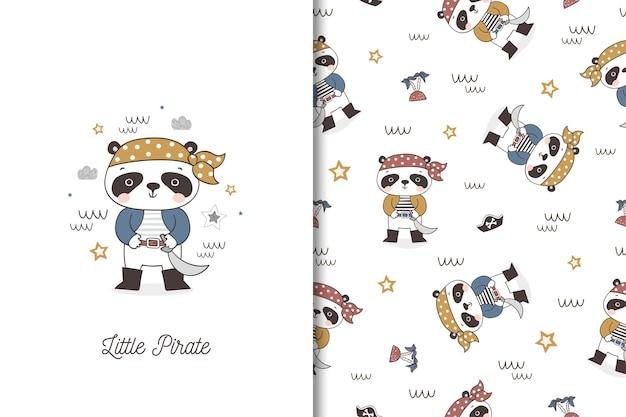 Pequeño personaje de dibujos animados de pirata panda. tarjeta y patrón sin costuras para niños.