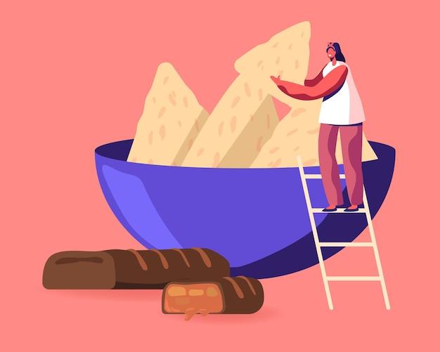 Pequeño personaje femenino de pie en la escalera tomando galletas de un plato enorme, barra de chocolate debajo. ilustración plana de dibujos animados