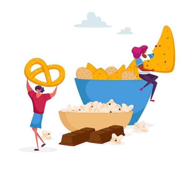 Pequeño personaje femenino que toma galletas y pretzel del plato enorme, barra de chocolate debajo.