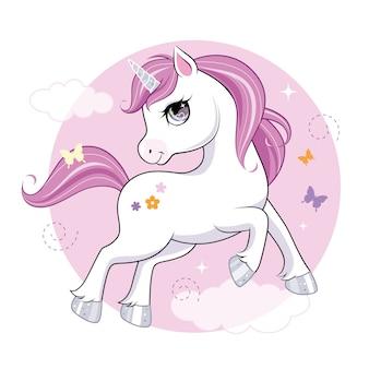 Pequeño personaje lindo unicornio