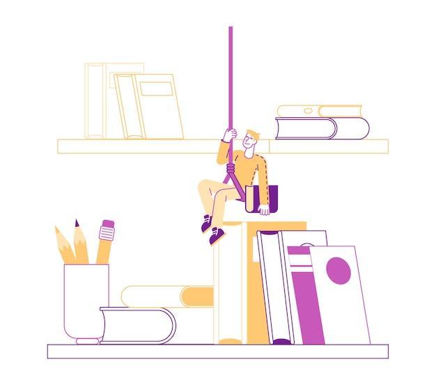 Pequeño personaje masculino colgado de una cuerda sobre la estantería con libros enormes