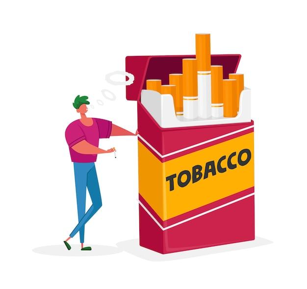 Pequeño personaje masculino con una enorme caja de cigarrillos