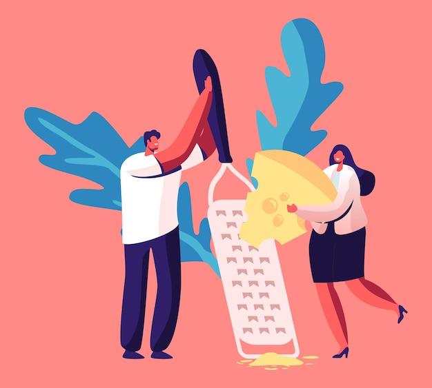 Pequeño personaje masculino y femenino rallar un trozo de queso fresco en una enorme comida de cocina con rallador. ilustración de dibujos animados