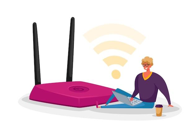 Pequeño personaje masculino con laptop y taza de café sentado en un enorme enrutador wifi