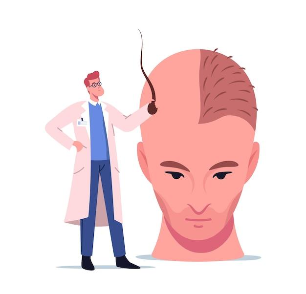 Pequeño personaje médico que sostiene el folículo prepara una enorme cabeza masculina para el procedimiento de trasplante de cabello