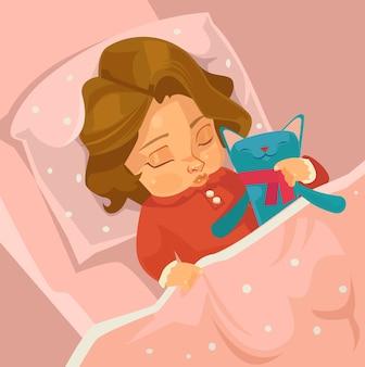 Pequeño personaje de niña sonriente durmiendo. ilustración de dibujos animados plana