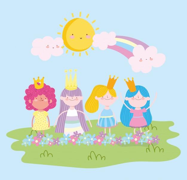 Pequeño personaje de princesa de hadas con flores de corona y dibujos animados de cuento de arco iris