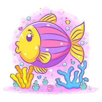 El pequeño pez erizo de cabeza amarilla