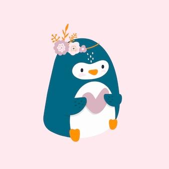 Pequeño pingüino lindo con el corazón