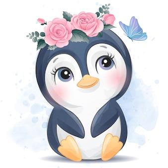 Pequeño pingüino lindo con efecto acuarela