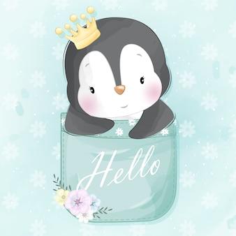 Pequeño pingüino lindo sentado dentro de un bolsillo
