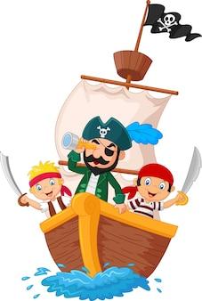 Pequeño pirata de dibujos animados estaba navegando por el océano
