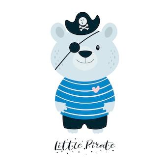 Pequeño pirata de oso de peluche lindo