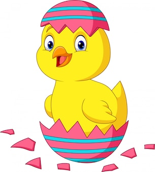 Pequeño pollito de dibujos animados que sale de un huevo de pascua