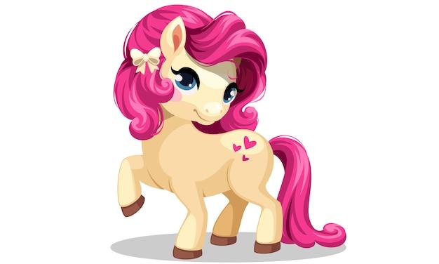 Pequeño pony blanco con ilustración de vector de peinado de color rosa