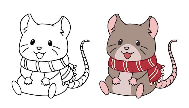 Pequeño ratón lindo con bufanda y sentado. ilustración de vector de contorno aislado sobre fondo blanco.