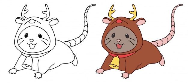 Pequeño ratón lindo con traje de ciervo. ilustración de vector de contorno aislado sobre fondo blanco.