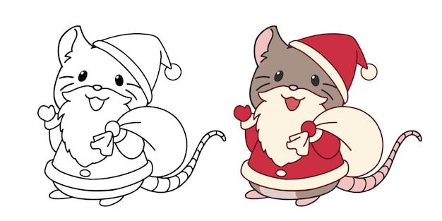 Pequeño ratón lindo con traje de santa y barba. ilustración de vector de contorno aislado sobre fondo blanco.