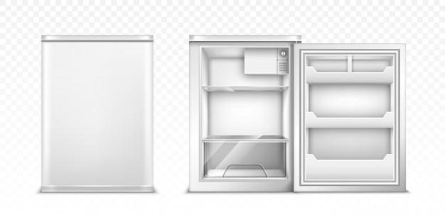 Pequeño refrigerador con puerta abierta y cerrada.